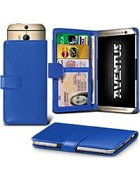 Aventus (Blue) Vodafone Smart Platinum 7 Universal Case Etui Housse Wallet Spring Clamp Premium Pu Cuir Avec Caméra Slide, Titulaire De La Carte De La Fente Et Billets Pocket