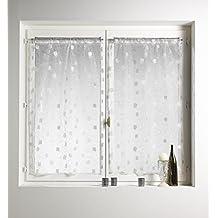 HomeMaison - Par de visillos (organza, diseño bordado), 100% poliéster, gris, 70 x 130 cm