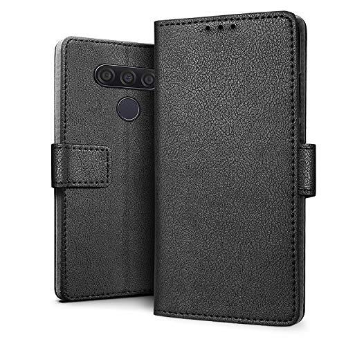 HDRUN Hülle Kompatibel für LG Q60 Hülle - Premium PU Leder Flip Tasche Case mit Kartensteckplätzen & Ständerfunktion Schutzhülle Handyhüllen für LG Q60, Schwarz