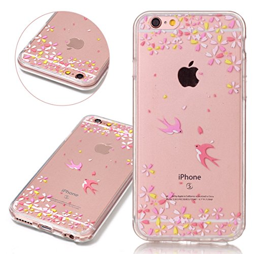 Custodia iPhone 6 Plus 6S Plus, ISAKEN Cover per Apple iPhone 6 Plus 5.5 [TPU Shock-Absorption] - Glitter Farfalle Design Custodia Case Ultra Sottile TPU Morbido Protettiva Cassa Bumper - Glitter Far coppia uccelli