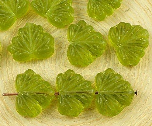 10pcs Crystal Olive Green Tschechische Glas Flache Maple Leaf Perlen Geschnitzt 10mm x 13mm (Olive Green Gläser)