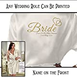 Personalised Satin Kimono /Robe Gold Effect Hearts Design. Bride, Bridesmaid,