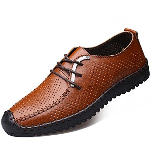 GRRONG Herren Leder Schuhe Freizeit Echtes Leder Hollow Schwarz Braun Blau Brown