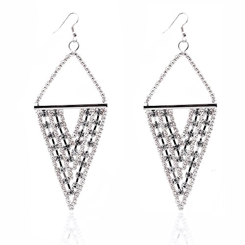 Lureme® Elegante stile retrò tono lega oro del KC tre strati invertito forma di triangolo (Triangolo Due Orecchini Tono)