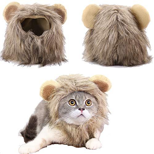 Tick Tocking Lion Mane Perücke Kostüm für Katzen Kostüm Hut Kopfbedeckung mit Ohren Cosplay Dress up Halloween Party Kostüm Zubehör für Katzen & kleine - Wilde Katze Halloween Kostüm