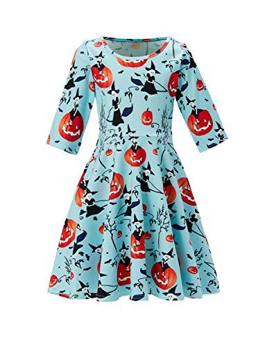 Funnycokid Kinder Kleider Dreiviertel-Ärmel Kleid Halloween Hexe Drucken Lässig Sommer Täglich Kleider