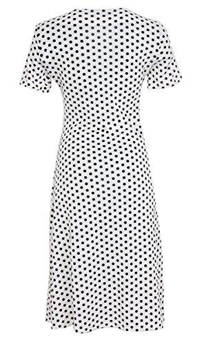 DELEY Damen V-Ausschnitt Kurzarm Wickelkleid Skaterkleid Partykleid Casual Sommerkleid Weiße Punkte