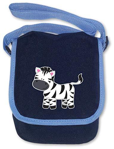 Samunshi® Kindergartentasche Zebra für Kindergarten und Freizeit Umhängetasche BagBase Mini Reporter 17x23x7cm Navy blau -