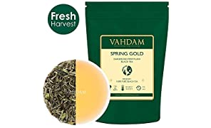 VAHDAM, primer té negro dorado Darjeeling Spring Flush (25 tazas) | Hojas de té negro 100% PURAS SIN CARGAR | EXQUISITO Darjeeling té de hojas sueltas | La CHAMPÁN de los tés | 50gr