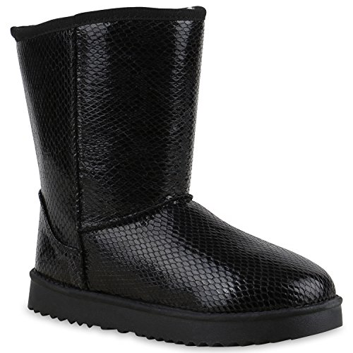 Warm Gefütterte Damen Stiefel Schlupfstiefel Boots Stiefeletten Schwarz Snake