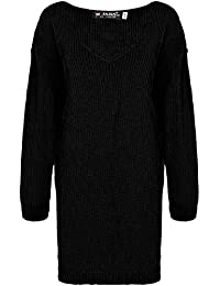5d19d84a01793 Be Jealous Ladies Chunky Knitted Formal Oversized Baggy Deep V Plunge Neck  Womens Long Casual Warm Sweater Jumper Loose Mini…