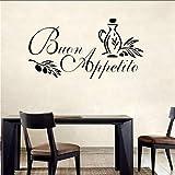 Zxfcccky Buon Appetito Wall Art Autocollant Citation Italienne Cuisine Décalque De Vœux Repas Vinyle Amovible Stickers Muraux Pour Restaurant Décor Taille 38 * 75 Cm