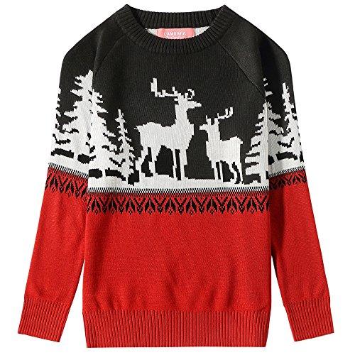 (Camii Mia Mädchen Weihnachten Lustiger Weihnachts Crewneck Hässlicher Pullover (Medium (10-12), Rot))