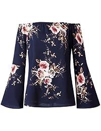 Camisetas Mujer Blusas Manga Larga Blusa Sin Hombros Estampadas Flores Camiseta Señora Blusones Tops Fiesta Top Camisas Amplias Camisa…