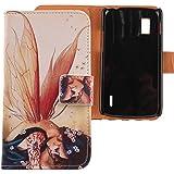 Lankashi PU Flip Funda De Carcasa Cuero Case Cover Piel Para LG Optimus G E973 E975 Wings Girl Design