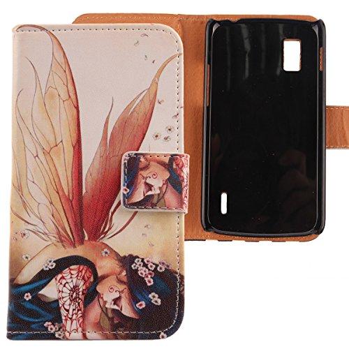 Lankashi PU Flip Leder Tasche Hülle Case Cover Schutz Handy Etui Skin Für LG Optimus G E973 E975 Wing Girl Design
