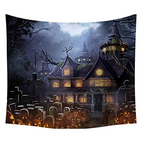 VICKY-HOHO Halloween Wandteppich Kürbisse Baum Druck Wandhängen Wandteppich Kunst Home Decoration -