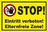 Schild - Stop - Eintritt verboten - Eltern-freie Zone - Zutritt für Unbefugte verboten - entspr. DIN ISO 7010 / ASR A1.3 – 15x10cm | stabile 3mm starke PVC Hartschaumplatte – S00356-019-C +++ in 20 Varianten erhältlich