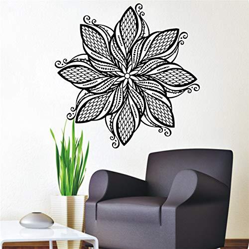 guijiumai Mandala Flower Wall Stickers Art Vinile Autoadesivo Home Decor Indiano Religioso Modello Murales per Soggiorno Rosa 87x87 cm