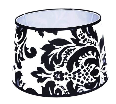 Lampenschirm für Tischleuchte in Rund Leinen schwarz Weiß Barock TL 25-20-16