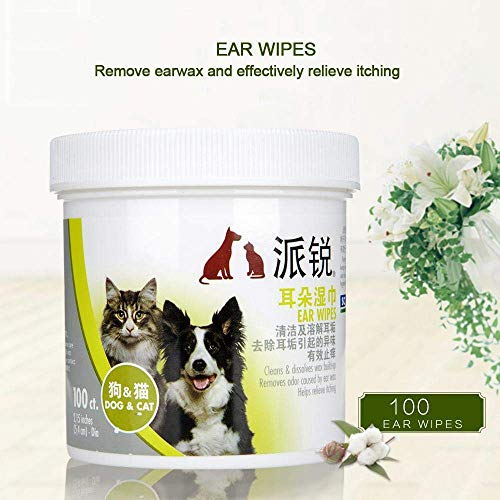 eujiancai 100 Pcs Pet Ear Wipes for Dogs Cats Puppies Doggie Kitten, Soft Deodorizing Dog Wipes Antifungal Wipes - Keep Clean, Remove Odor and Relieve Itching - Gentle Dog Ear Cleaning Wipes/Pads -