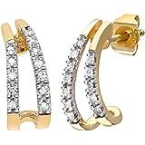 Naava Women's 9ct Diamond Huggie Earrings