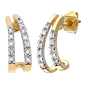 33b10f653 Naava 9 ct Yellow Gold Women's 10pt Diamond Earrings: Amazon.co.uk ...
