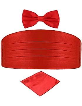 DonDon Set de tres piezas Caballero Faja de esmoquin Pajarita Pañuelo de bolsillo Color a juego Espléndido para...