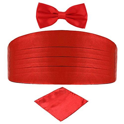 DonDon 3er Set Herren Kummerbund Fliege Einstecktuch farblich abgestimmt glänzend für feierliche Anlässe - Rot