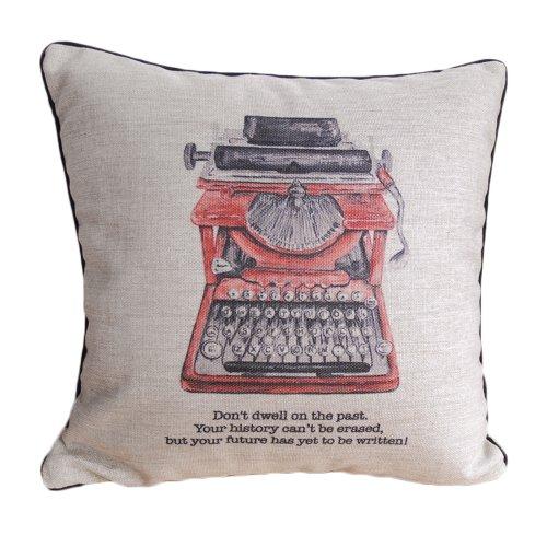 Vintage Schreibmaschine Print Kissen Bezüge schwarz paspeliert Design Leinen Kissen 45x 45cm