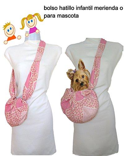 Bolso de niña. ROSA CORAZONES. Regulable desde 2 años. Lavable. También transportin de perro pequeño. Exclusivo y patentado.