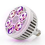 Derlights LED Grow Light 120W, Impianto a spettro completo Coltiva la lampadina, 36 pezzi Chip LED SMD 3030 E27 Presa, Coltiva la lampada per crescere la tenda da casa Crescita delle piante in serra