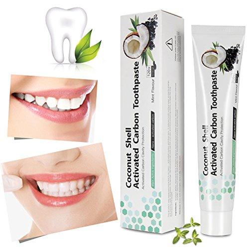 Aktivkohle Zahnpasta - Natürliche Zahnaufhellung- Premium Kokosnuss Aktivkohle Zahnpasta-100% REIN- Teeth Whitening- Schwarze Zahnpasta- Zahn Bleaching- Zahnweiß- Charcoal Bleaching- Für weiße Zähne (120g)