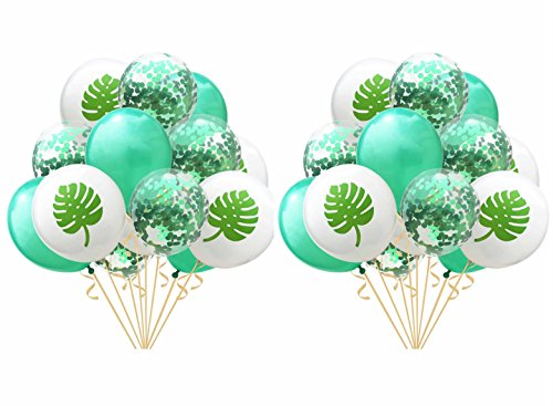 Yalulu 30 Stück 12 Zoll Ballons Flamingo Ananas Schildkröte Blätter Latex Luftballons Konfetti Ballons für Hochzeits Geburtstag Luau Tropical Party Dekoration (Grün)