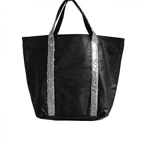 Shopping-et-Mode - Sac à main noir style cabas en simili-cuir avec lanières à paillettes - Noir, Simili-cuir