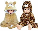 #8: Brandonn 3D Printed and Furry Glacier Hooded Smiley Baby Blanket and Wrapper Pack - Tiger (Beige, Pack of 2)