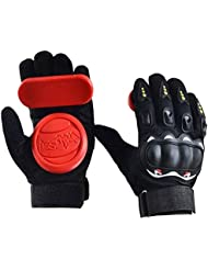 Standard Longboard Downhill Slide Gants Gants de patin avec 2 Set Remplaceable Slider Puck Set (Rouge)
