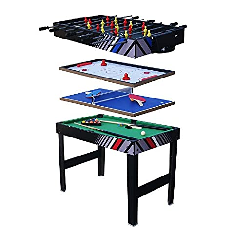Table Multi Jeux 4 in 1,il comprend Baby-foot / Billard / Ping Pong / Air Hockey