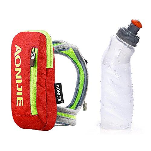 Imagen de aonijie bolsa de nylon para maratón de mano  de hidratación, correr eléctrica bolso de mano con 1pieza 250ml botella de agua, naranja