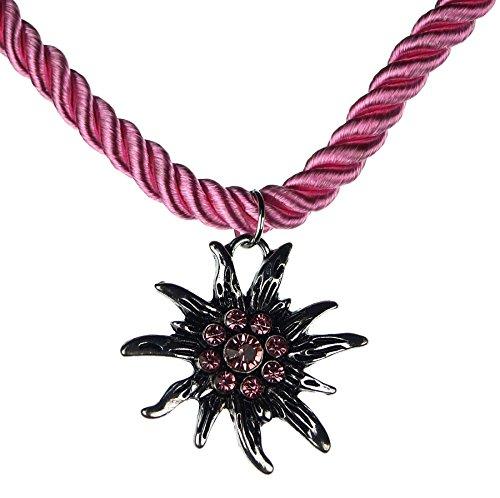 Trachtenschmuck Trachten Damen Halskette Halsband Band Kette Hirsch Herz Edelweiss Anhänger mit Steinen passend zum Dirndl Bluse Kniebundhose Lederhose Oktoberfest Wiesnfest (rosa, Model-3)