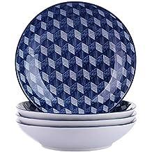 vancasso Aichi Juego de Platos 4 Piezas Platos Hondos, Platos para Sopa Vajillas de Porcelana