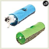 Pets&Partner Katzentunnel/Spieletunnel mit Katzenspielzeug für kleine und große Katzen, Blau