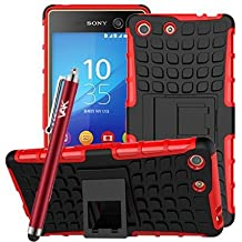 Heavy Duty armadura a prueba de golpes carcasa rígida con función atril para Sony Xperia M5+ + libre Protector de pantalla gratis y lápiz capacitivo/gastos de envío gratis (rojo)