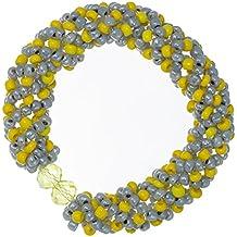 Lisa: pulsera de perlas de cuentas tejido técnica perlas y cristales, color amarillo y gris