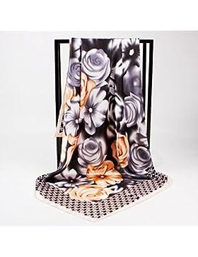 La moda femenina Silk-Satin Vintage flor rosa cuadrado impreso Bufanda Bufanda 35*35cm,gris
