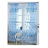 huyipin Transparente Tulpe Blume Sheer Vorhänge Tür Fenster Tüll Schabracken Divider Schlafzimmer Stoffe Vorhänge Panel Hochzeit Dekoration (Blau)