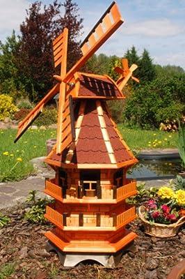 Windmühle 3 stöckig kugelgelagert 1,40m Bitum rot mit Beleuchtung Solar, Solarbeleuchtung von Deko-Shop-Hannusch auf Du und dein Garten