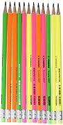 Matite in grafite Swano, fusto in 4 colori fluorescenti. Tratto 2,5 mm, con gommino.
