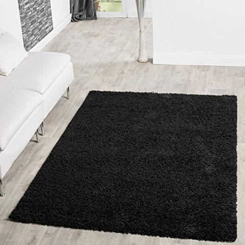 T&T Design Alfombra Shaggy De Pelo Largo para Salón A Precio Inmejorable, Farbe:Black, Größe:160x220...