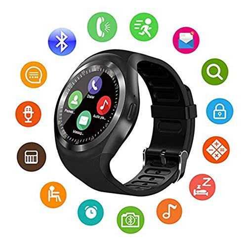 Y1 Smart Uhr, Bluetooth Touch-Screen-Uhr-Telefon unterstützt SIM-TF-Karte, Fitness-Tracker, mit Pedometer/Musik/Schlafüberwachung für Männer und Frauen, Android und iOS (DREI Farben optional) Touch-screen-bluetooth